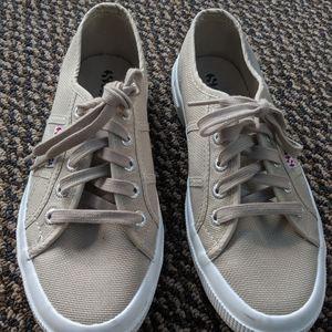 Superga Tan Canvas Lace Up Sneakers Size 7M EUC